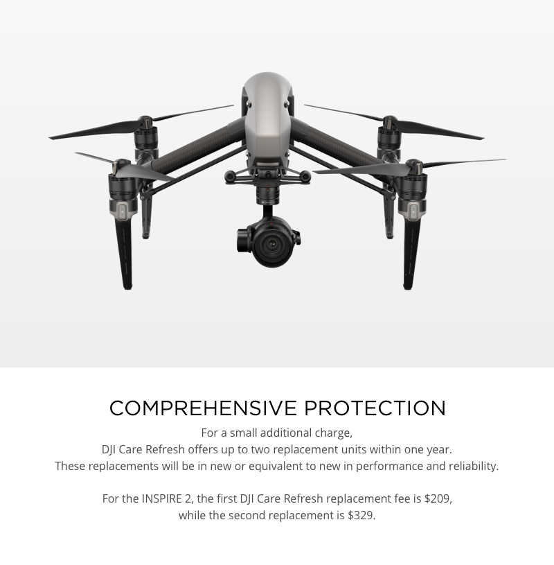 DJI Care Refresh Replacement Fees Inspire 2