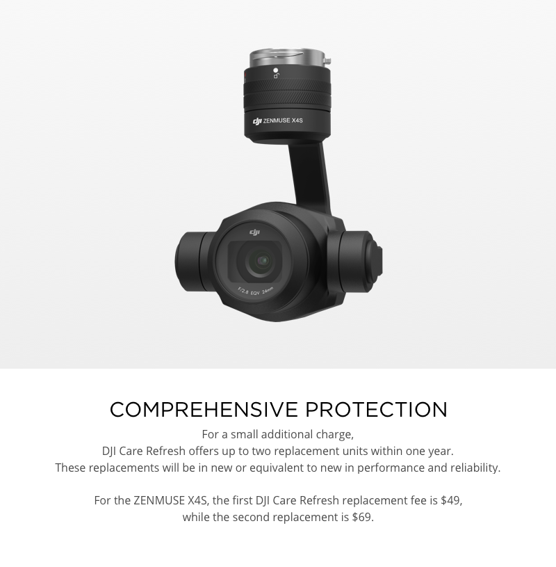 DJI Care Refresh Replacement Fees Zenmuse X4S