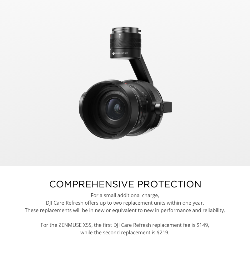 DJI Care Refresh Replacement Fees Zenmuse X5S