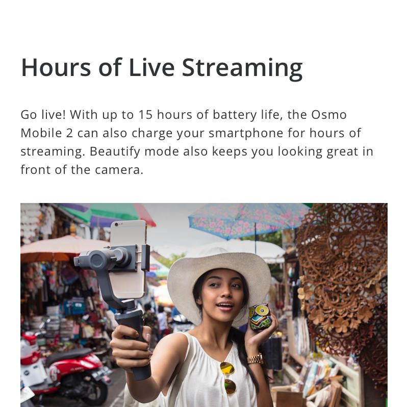 DJI Osmo Mobile 2 Live Streaming